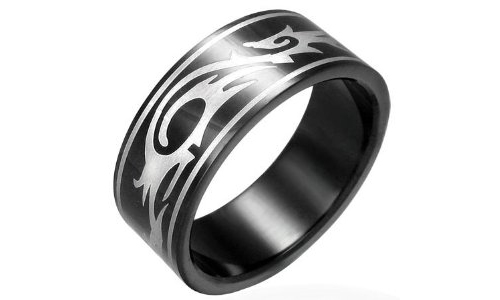 Tribal Design Black Stainless Steel Ring - 9