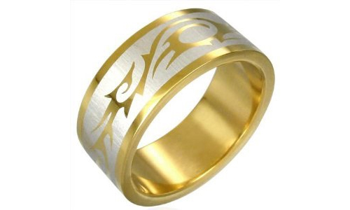 Tribal Design Gold Plated Stainless Steel Ring - 9