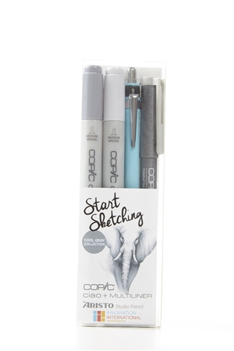 Copic and Aristo Start Sketching 4pc Cool Gray Drawing Kit Set