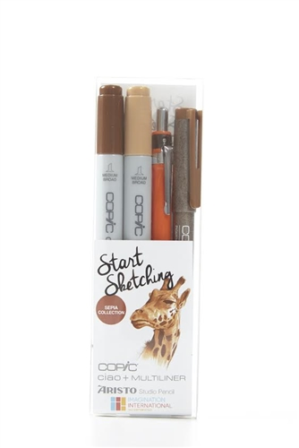 Copic and Aristo Start Sketching 4pc Sepia Drawing Kit Set