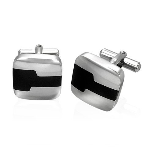 Square Two Tone Stainless Steel Cufflinks