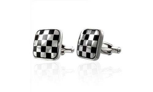 Two Tone Checker Square Stainless Steel Cufflinks