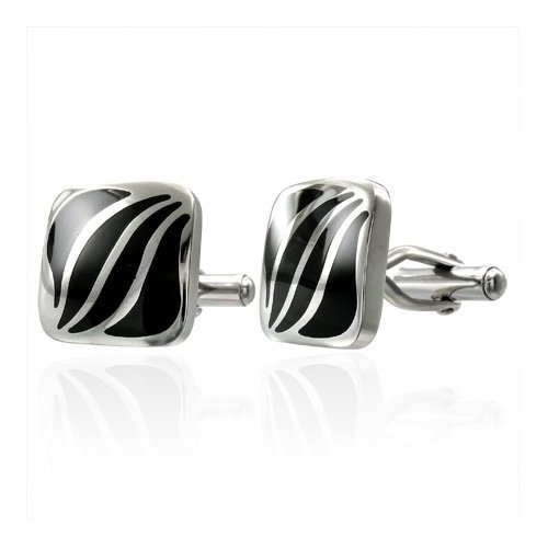 Square Two Tone Leaves Stainless Steel Cufflinks