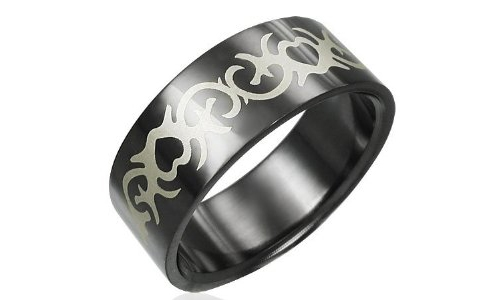 Tribal Heart Design Black Stainless Steel Ring - 7