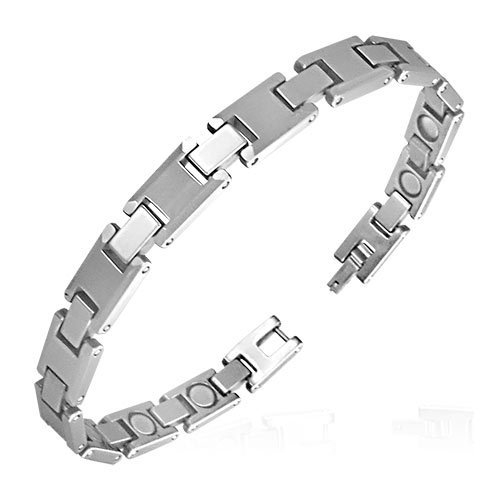 Tungsten Carbide Panther Link Bracelet with Magnets