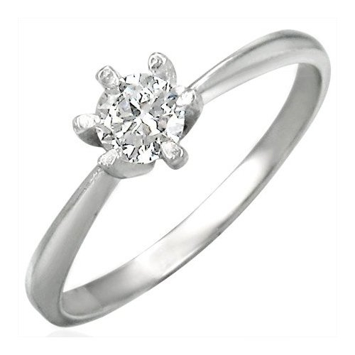 Cubic Zirconia Stainless Steel Engagement Ring - 5