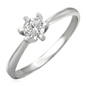 Cubic Zirconia Stainless Steel Engagement Ring - 6