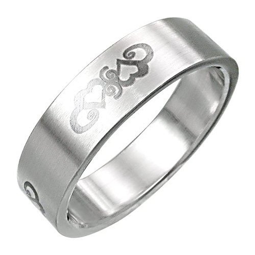 Two Hearts Promise Band Stainless Steel Ring-12
