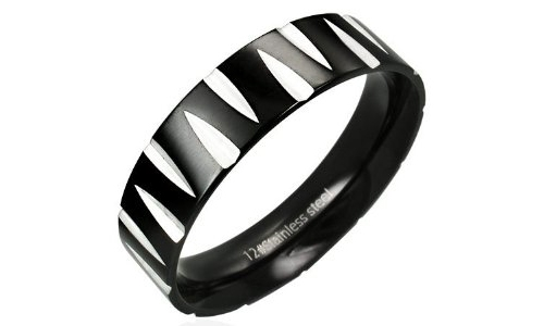 Diamond Cut Pattern Black Stainless Steel Ring - 7