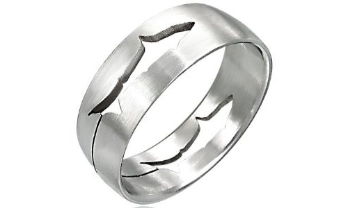 Fish Symbol Cut-Out Stainless Steel Ring-11