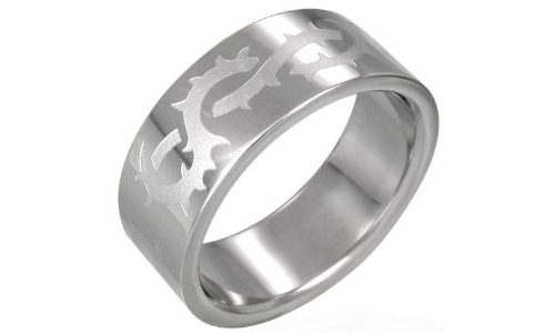 Tribal Vine Link Stainless Steel Ring-11