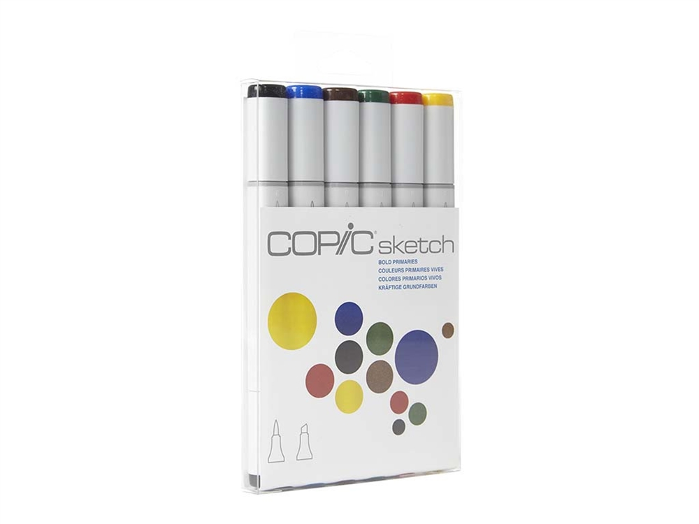 Copic Sketch Set of 6 Markers - Bold Primaries