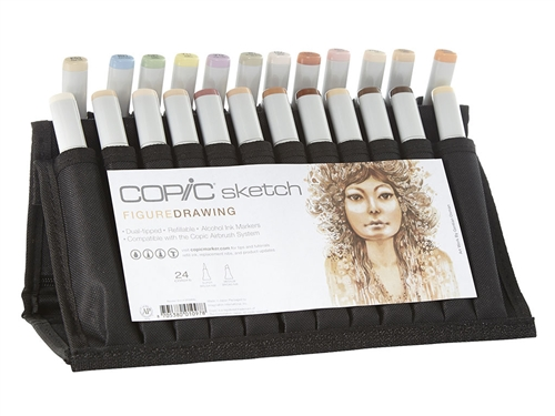 Copic Sketch Figure Skin Flesh Marker Wallet Set, Copic, Figure, Drawing, 24, Sketch, Marker, Set, Copic Sketch, Figure Wallet, Skin, Flesh, Tones, Colors, Marker Wallet Set, 24pc wallet, copic sketch marker set, Beginner copic set, Copic art supplies