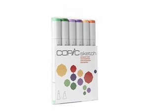 Copic Sketch Set of 6 Markers - Secondary Tones Secondary Tones Colors Included: G02, G09, V04, V09, YR61, YR68 Copic's 6pc Sketch sets are the perfect way to begin building a marker collection. Carefully chosen colors take the guess work out.