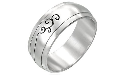Tribal Cut Out Stainless Steel Ring - 9