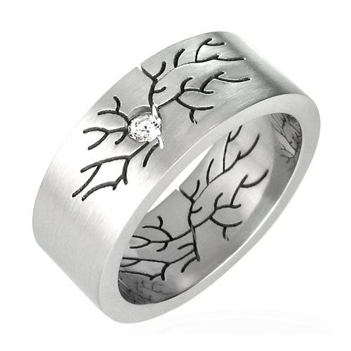 Cubic Zirconia Engraved Cracks Stainless Steel Ring - 11