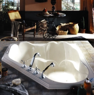 Fontana White Corner Contemporary 73 Gallons Bathroom Bathtub