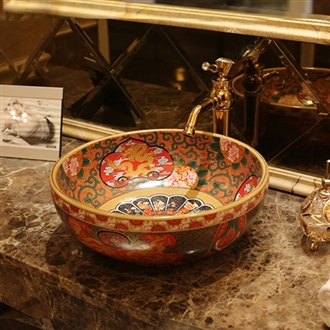 Afragola Vintage Style Ceramic Washing Basin Counter Top Colored Bathroom Sink
