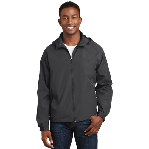 Men's Hooded Raglan Jacket by Sport-Tek