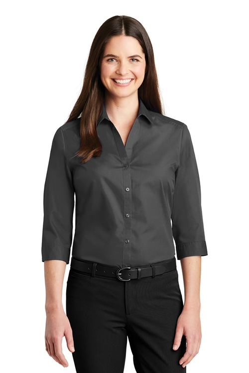 Ladies 3/4-Sleeve Carefree Poplin Shirt by Port Authority