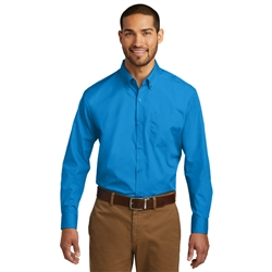 Men's Long Sleeve Carefree Poplin Shirt by Port Authority