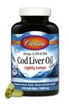 Cod Liver Oil, Lightly Lemon - Carlson 1000mg 150 softgels (0.59 lbs)