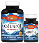 Cod Liver Oil, Lightly Lemon - Carlson 150 + 30 softgels (0.59 lbs)