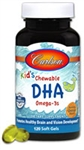 Fish Oil, Chewable DHA - Carlson 100 mg DHA 120 softgels (0.29 lbs)