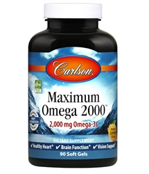 Fish Oil,  Maximum Omega 2000 - Lemon Flavor - Carlson Labs 2000 mg 90 softgels (0.51 lbs)
