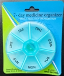 Compact Pill Organizer (color varies) - 7 Day Round Plastic- Good Old Values (0.35 lbs)