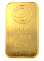 Argor S.A Chiasso 50 Grams Minted 24 Carat Gold Bullion Bar 999.9 Pure Gold