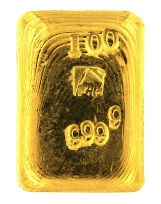 A. Collin 100 Grams Cast 24 Carat Gold Bullion Bar 999.9 Pure Gold