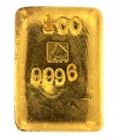 A. Collin 100 Grams Cast 24 Carat Gold Bullion Bar 999.6 Pure Gold