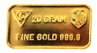 Amro Bank 20 Grams Minted 24 Carat Gold Bullion Bar 999.9 Pure Gold