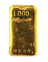 A. Afinadora Portugal 251.50 Grams Cast 24 Carat Gold Bullion Bar 999.9/1000 Pure Gold