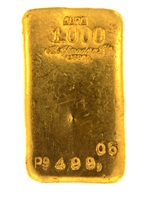 A. Afinadora Portugal 499.05 Grams Cast 24 Carat Gold Bullion Bar 999.9/1000 Pure Gold
