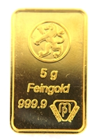 Bank Leu, Zurich 5 Grams Minted 24 Carat Gold Bullion Bar 999.9 Pure Gold