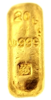 P.C. Boschmans 20 Grams Cast 24 Carat Gold Bullion Bar 999.9 Pure Gold