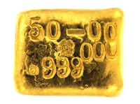 P.C. Boschmans 50 Grams Cast 24 Carat Gold Bullion Bar 999.0 Pure Gold