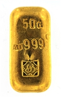 P.C. Boschmans 50 Grams Cast 24 Carat Gold Bullion Bar 999.9 Pure Gold