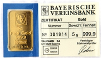Bayerische Vereinsbank 5 Grams Minted 24 Carat Gold Bullion Bar 999.9 Pure Gold in Assay Certificate Holder