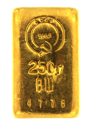 State Refineries - CCCP 250 Grams Cast 24 Carat Gold Bullion Bar 999.9 Pure Gold