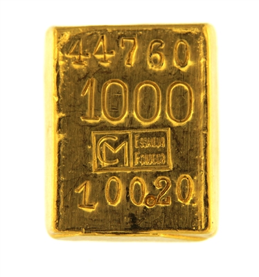 Cendres + Métaux 100,2 Grams Cast 24 Carat Gold Bullion Bar 1000 Pure Gold