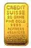 Credit Suisse & Johnson Matthey 20 Grams Minted 24 Carat Gold Bullion Bar 999.9 Pure Gold