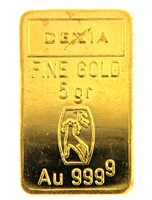 Dexia 5 Grams Minted 24 Carat Gold Bullion Bar 999.9 Pure Gold
