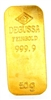 Degussa 50 Grams 24 Carat Gold Bullion Bar 999.9 Pure Gold