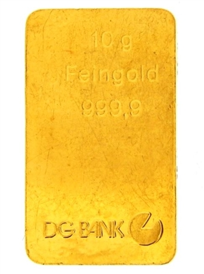 DG Bank Germany 10 Grams 24 Carat Gold Bullion Bar 999.9 Pure Gold