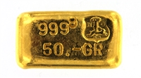 Drijfhout Amsterdam 50 Grams Cast 24 Carat Gold Bullion Bar 999.9 Pure Gold