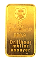 Drijfhout Amsterdam 5 Grams Minted 24 Carat Gold Bullion Bar 999.9 Pure Gold
