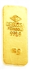 Degussa 10 Grams 24 Carat Gold Bullion Bar 999.9 Pure Gold